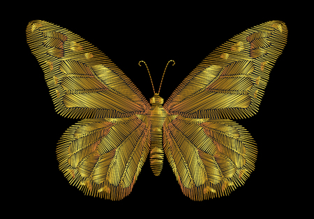 Embroidery gold butterflies on a black background. Vectores
