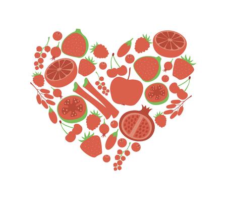 rhubarb: Red fruit berry heart love. Vegan vegetarian diet menu eco natural food. Pomegranate cranberry barberry rhubarb guava icon set.