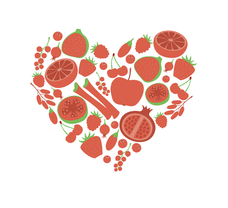 Red fruit berry heart love. Vegan vegetarian diet menu eco natural food. Pomegranate cranberry barberry rhubarb guava icon set.