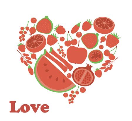 rhubarb: Red fruit berry heart love. Vegan vegetarian diet menu eco natural food. Pomegranate cranberry barberry rhubarb guava vector illustration icon set
