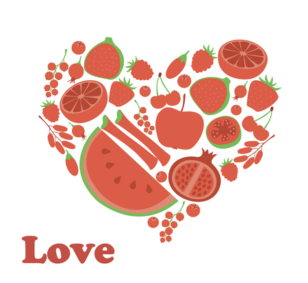 Red fruit berry heart love. Vegan vegetarian diet menu eco natural food. Pomegranate cranberry barberry rhubarb guava. Illustration
