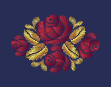 Embroidery crewel flower patch traditional ornament decoration red roses leaves blueberry rich glowing golden gold design vector vintage retro style design. Illustration
