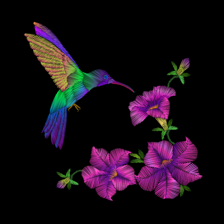 Embroidery crewel hummingbird bird flying petunia flower decoration patch print vector illustration. Fashion stitch beautiful ornate floral design