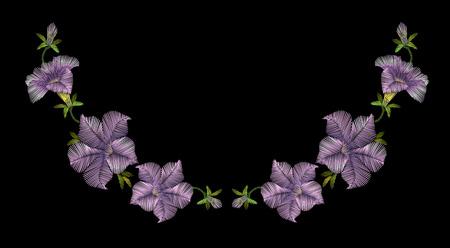 Embroidery crewel floral petunia neckline decoration. Vector illustration