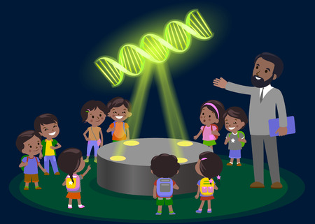 futuristic girl: Innovation education elementary school learning technology - group of kids looking to molecule of DNA. hologram on biology lesson future museum center vector. Dark skin