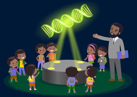 leccion: Tecnología de aprendizaje de educación primaria de innovación - grupo de niños que buscan a la molécula de ADN. holograma en la lección de biología vector de centro de museo futuro. Piel oscura