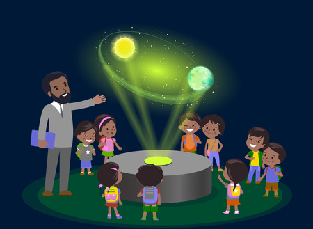 Innovation education elementary school learning technology and people concept - group of kids looking to orbit of earth. hologram on space lesson future museum center. vector illustration. Illustration