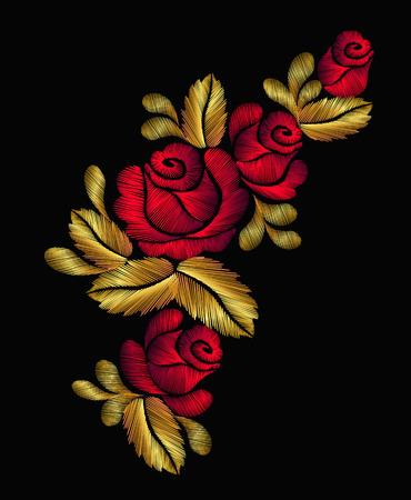 刺繍花ネックレス伝統的な飾り装飾バラ葉豊かな輝く黄金ゴールド デザイン ベクトル イラスト ヴィンテージ レトロなスタイル デザイン