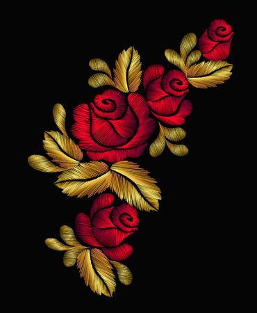 Embroidery flower necklace traditional ornament decoration roses leaves rich glowing golden gold design vector illustration vintage retro style design Illustration
