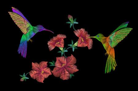 pájaros vuelan sobre el bordado klobri flores petunias