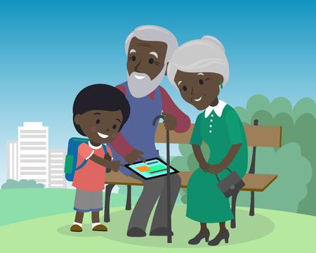 Kleinzoon jongen leert grootouders gebruik tablet pc. Oudsten bejaarden leren onderwijs moderne technologie internet Afrikaanse Indiase bruine huid grootvader grootmoeder zoon vector illustratie cartoon Stockfoto - 72558710