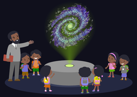science education: Innovation education elementary school african brown skin black hair group kids planetariun science galaxy. hologram on space future museum center. vector illustration.