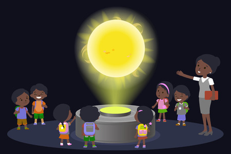 Innovation education elementary school african brown skin black hair group of kids planetariun science sun. hologram on space future museum center. vector illustration.