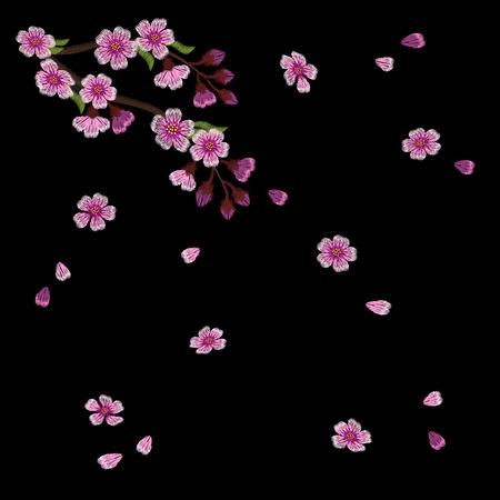 fleur de cerisier: Broderie floraison branches de cerisiers sur un fond noir. pétales roses tombent. vêtements de mode décoration. modèle traditionnel. illustration vectorielle