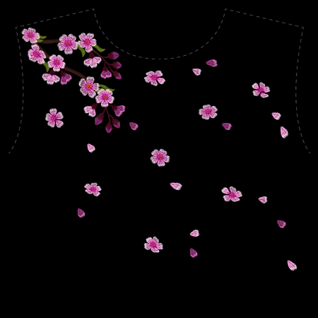 Embroidery blossoming cherry branches on a black background. pink petals fall off. fashion clothing decoration. traditional pattern. vector illustration