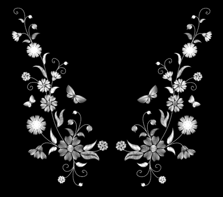 Embroidery white wild flowers on a black background. imitation lace. fashionable clothing decoration. traditional pattern. vector illustration