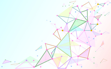 Abstract triangles space low poly. White background with connecting dots and lines. Illustration