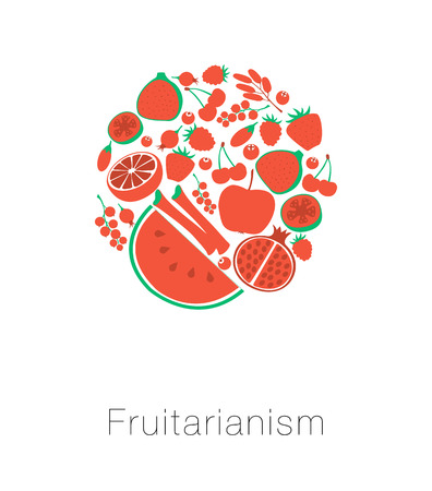rhubarb: Round globe red fruit and berries. Card I love fruitarianism eco vegetarian healthy food. Fig rhubarb currant guava tropical rosehip. Vector illustration