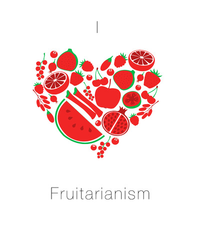 Heart from red fruit and berries. Card I love fruitarianism eco vegetarian healthy food. Vector illustration Stock Photo