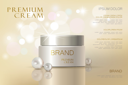 Premium VIP cosmetic ads, hydrating luxury facial cream for sale. Elegant soft color cream mask bottle isolated on glitter sparkles with pearls, gloss effect. 3D realistic