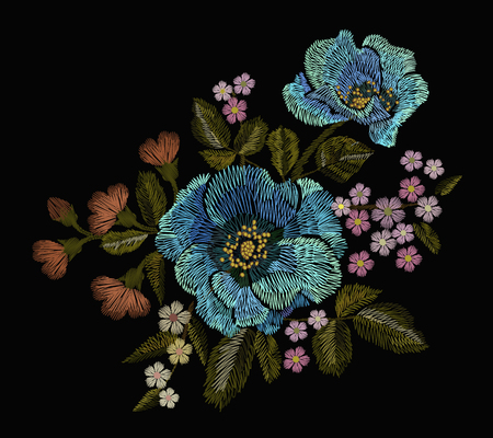 Embroidery colorful floral pattern with poppy and daisy flowers. Vector traditional folk fashion ornamen Illustration
