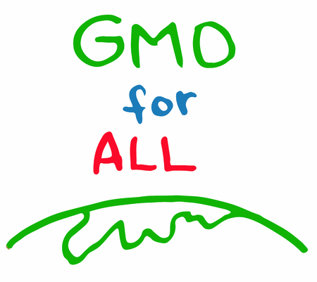 dietary: Support gmo gene modified food for all sing inscription green red blue color vector. Illustration