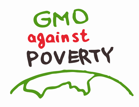 Support gmo gene modified food against poverty sing inscription green red blue color vector.