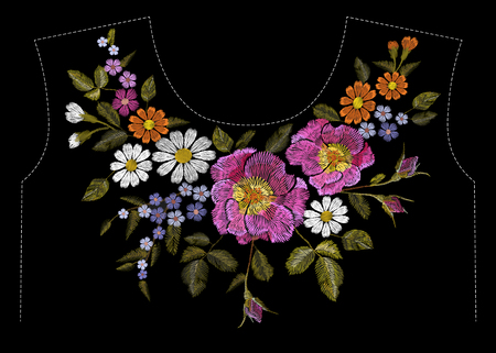 Embroidery colorful floral pattern with dog roses and forget me not flowers. Vector traditional folk fashion ornament on black background. illustration Vector Illustration