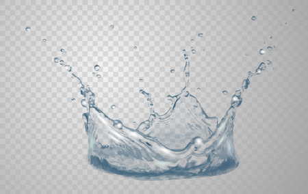 Transparent water splash in blue colors, isolated on transparent background. Illustration