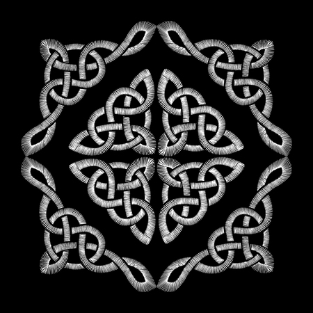 Embroidered Celtic knot pattern. Embroidery traditional necklace ornament.
