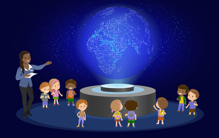Innovation education elementary school learning technology and people concept - group of kids looking to earth. hologram on space lesson future museum center. vector illustration Illustration