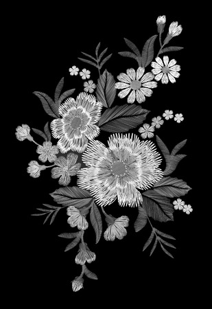 Embroidery colorful floral pattern with dog roses and forget me not flowers. Vector traditional folk fashion ornament on black background. illustration Vectores