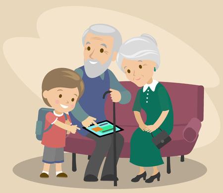 손자는 할아버지와 할머니에게 태블릿을 사용하도록 가르친다. 노인 돕기. 현대 기술. 벡터 일러스트 레이 션 일러스트