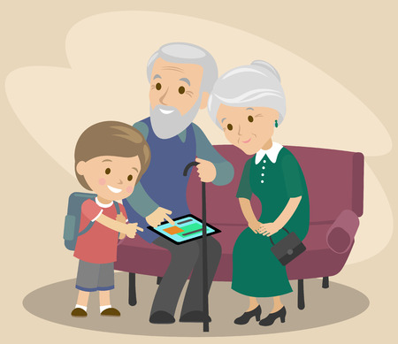 The grandson teaches grandfather and grandmother to use the tablet. Help the elderly. modern technologies. Vector illustration