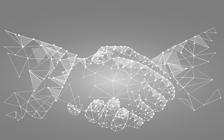 two hands handshake polygonal low poly contract agreement monochrome on a light background. vector