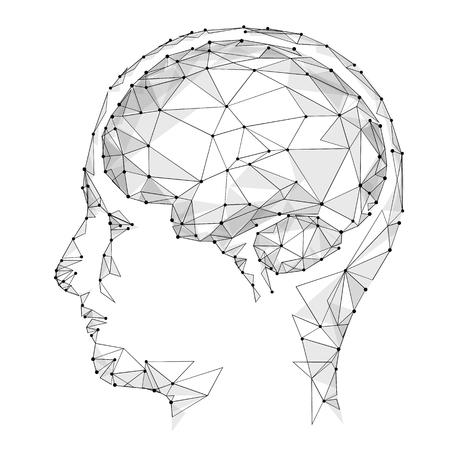 Konzept Des Aktiven Menschlichen Gehirns Mit Binär Code Stream ...