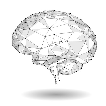 Konzept des aktiven menschlichen Gehirns mit binär Code Stream. Menschliches Gehirn bedeckt mit Fall der binären Zahlen.