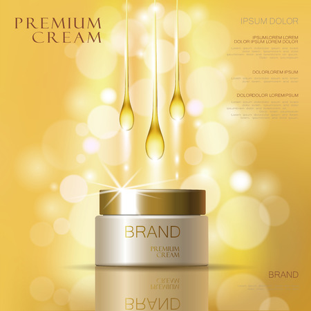 Golden oil cosmetic cream skin care ads. Template 3d realistic illustration vector illustration. Moisturizing mask product mock up art Vectores