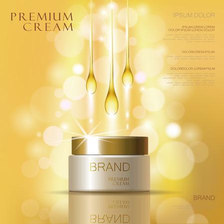Golden oil cosmetic cream skin care ads. Template 3d realistic illustration vector illustration. Moisturizing mask product mock up art Vettoriali