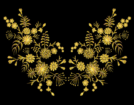 Golden lace pattern of flowers on a black background. Imitation embroidery. Chamomile, forget-me-not, gerbera, paisley rustic vintage patch neckline vector illustration art