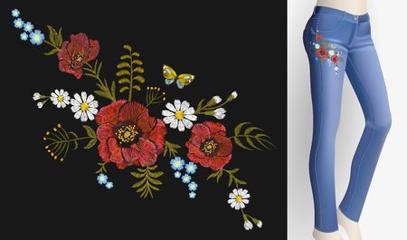 Embroidered flower patch rose poppy daisy herbs. Vectores