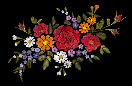 Embroidery flower rose poppy daisy gerbera herb sticker patch fashion print textile vector illustration art Illustration