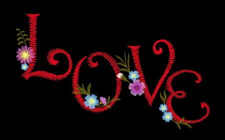 Embroidery vintage alphabet font typeface set. Embroidered English latin letters for textile fashion print inscription LOVE patch. Decoration flowers vector illustration art Illustration