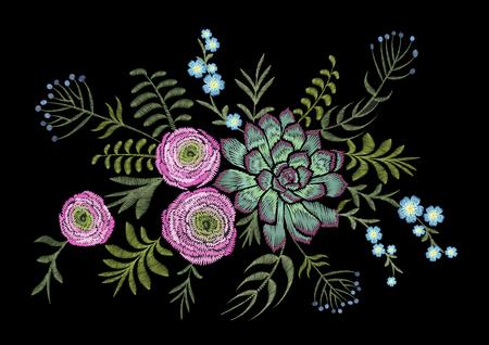 Delicate pink Ranunculus succulents herb field flower. Vintage postcard. Traditional embroidery floral pattern. Vector folk fashion ornament black background.Patch textile sticker illustration