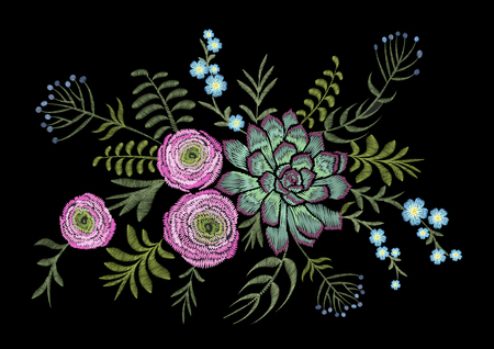 Delicate pink Ranunculus succulents herb field flower. Vintage postcard. Traditional embroidery floral pattern. Vector folk fashion ornament black background.Patch textile sticker illustration