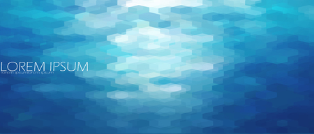 turquiose: Blue aqua water sea background template. Underwater abstract geometric view ripple wave shining light ocean vector art banner Illustration