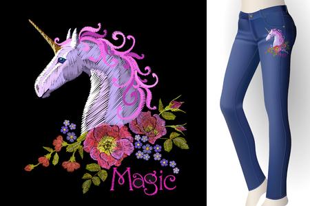 Fantasy unicorn embroidery patch sticker. Pink violet mane horse flower arrange poppy rose on blue woman jeans mockup. Cartoon badge magic vector illustration art