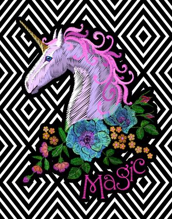 Fantasy unicorn embroidery patch sticker. Pink violet mane horse flower arrange poppy rose on geometric stripe background. Cartoon badge magic vector illustration art