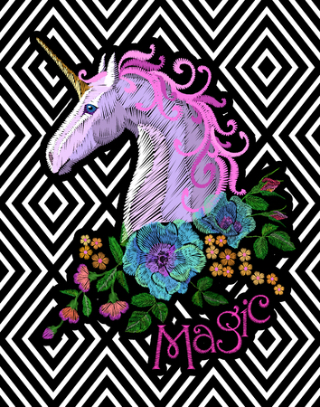 Fantasy unicorn embroidery patch sticker. Pink violet mane horse flower arrange poppy rose on geometric stripe background. Cartoon badge magic vector illustration art