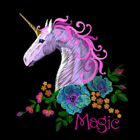 Fantasy unicorn embroidery patch sticker. Pink violet mane horse flower arrange poppy rose ornament. Cartoon badge magic vector illustration art Vectores